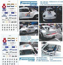 Decal 1/43 Porsche 911 GT2 VOH 24h Spa'01 #84 RARO limited Francorchamps