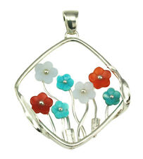 Natural Agate Gemstone Handmade Flower Pendant 925 Sterling Silver Jewelry