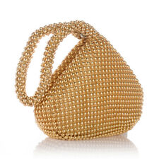 Women's Golden Alumium Sequins Evening Clutch Bag Party Wedding Purse Handbag