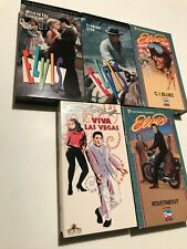 5 ELVIS VHS,USED,VIVA LAS VEGAS,ROUSTABOUT,G I BLUE,WILD IN COUNTRY,FLAMING STAR
