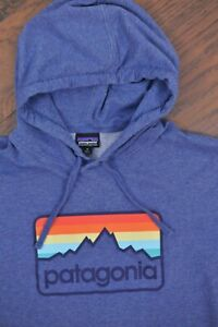 Patagonia Line Logo Badge Lightweight Hoody Sweatshirt Blue Men's Medium M