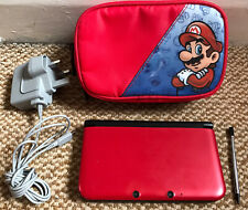 *Nintendo 3DS XL Red/Black Handheld Console with Stylus, Charger & Mario Case*