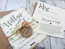 "1 rustique/floral ""willow"" wedding invitation/rsvp/wish carte échantillon avec enveloppes"