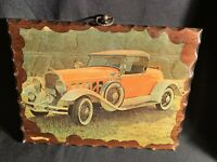 1931 Hudson Yellow vintage antique car  wood plaque Hanging