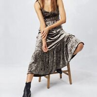 LoveStitch l S Petra Crushed Velvet Bohemian Festival Ruffle Hem Slip Maxi Dress