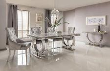 Rani Grey Marble & Chrome `O` 200CM Dining Table + Belle Pewter Velvet Chairs