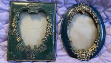 2 Vintage Frames Without Glass Victorian Small Frames Scroll Navy Green Frame
