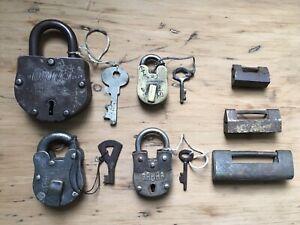 Collection Of 7 Antique Padlocks, Unusual Victorian Locks, Brass Locks, Vintage