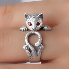 Women Vintage Retro Gifts Knuckle Adjustable Ring Animal Cat Jewelry