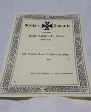 WW1 German Iron Cross 1st Class Document