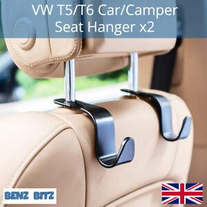 2X Universal Car Seat Hanger Hook Bag Coat Holder Black VW T6 T5 Camper 20K Load