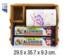 PORTAROTOLO IN LEGNO TRIPLO 29,5X35,7X9,3 CM TRIS ALLUMINIO E PELLICOLA SCOTTEX