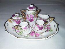 Dollhouse Miniature NIB China Tea Set Dark Pink Roses Tray Teapot Sugar Cream