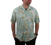 Vintage Kona Kai Mens Hawaiian Shirt XL Floral Hibiscus Aloha Tiki Green Leaves