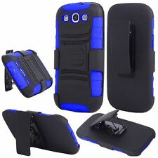 For Samsung S3 i9300 Side Stand With Holster - Black+Blue