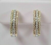 1 Ct Round Cut Diamond Tri Color Hoop Earrings In 14k Yellow Gold Finish