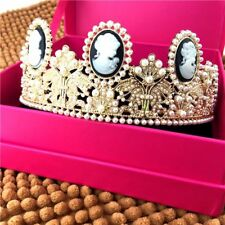 Baroque Wedding Bridal Gold Queen Pearl Crown Tiara Headband Prom Gift Jewelry