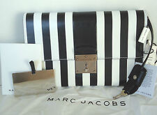 NEW $1195 Marc Jacobs Isobel Leather Stripes Black White Clutch Lock & Key