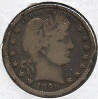 1899 Silver Barber Quarter - Philadelphia Mint - BC241