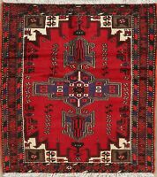 Tribal Geometric Hamadan Oriental Area Rug Wool Hand-Knotted Nomad Carpet 4'x5'