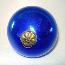 Antique 3 Inch Cobalt Blue German Glass Kugel Christmas Ornament