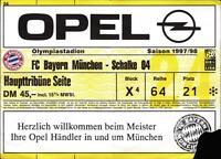 Ticket BL 97/98 FC Bayern München - FC Schalke 04