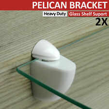 2 ADJUSTABLE WHITE GLASS  SHELF SUPPORT  PELICAN BRACKET MEDIUM SIZE 2-20 mm NEW