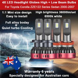 For Toyota Corolla ZZE122 Series 2003 2004 4x Headlight Globes High LOW Beam kit