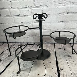 Longaberger Wrought Iron Bowl Caddy Plant Stand Swivel 3 Tier Adjustable Black