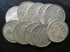 Australian Predecimal Threepence Bulk Silver Coins 10pc