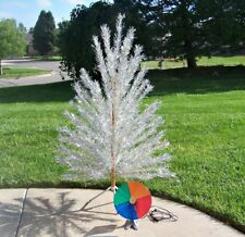Gorgeous Vintage 6 Ft Silver Aluminum 94 Branch Christmas Tree With Color Wheel
