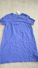 New! H & M Blue Round Neck Shift / Tunic Dress Sz 14 Inverted Button Back