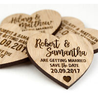 Wedding Save The Date Personalised Wooden Oak Heart Invitation Fridge Magnets