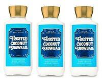 3 FROSTED COCONUT SNOWBALL BATH & BODY WORKS BODY LOTION CREAM 8 FL OZ SHEA