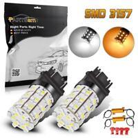 2x 3157 Switchback Amber/White Turn Signal Light Led Bulb 4157 3057 w/ Resistor