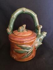 """Vintage Japanese Pottery Bamboo Teapot with Frog Lid Glazed 7"""" Tall"""