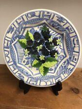 "Oiseaux Bleu GIEN Fruit Dessert/Salad 8.75"" BLACKBERRY France"