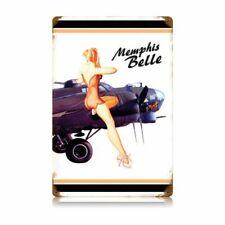 "Memphis Belle White Large Metal Sign 18"" x 12""  (pst)"