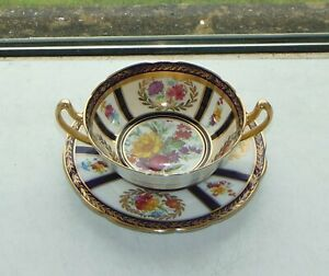 Paragon fine china Soup Bowl & Stand Cobalt Blue Floral Queen Mary c1940s