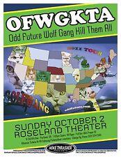 Ofwgkta (Odd Future Wolf Gang Kill Them All) 2011 Portland Concert Tour Poster