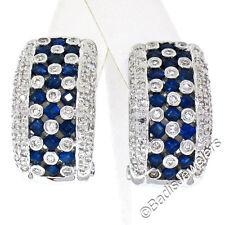 14K White Gold 2.32ctw Sapphire & Diamond Checkerboard Cuff Earrings Ear Clips