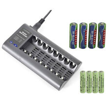 SLIMLINE BATTERY CHARGER + 8 AAA AA ULTRA POWER NIMH RECHARGEABLE BATTERIES