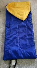 28 x 60 inch CHILDS SLEEPING BAG solid colored YELLOW & BLUE
