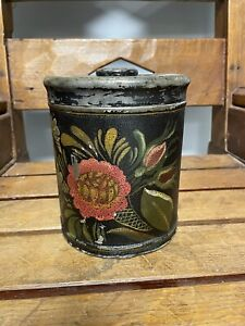 Primitive Tin Toleware Tole Canister With Lid Paint Decorated Black + Flowers