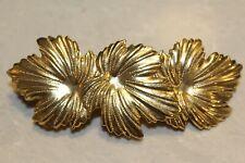 French Barrette Hair Clip France Goldtone Leaf Design Statement Piece