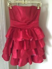 Betsey Johnson size 6 RACY RED Taffeta Strapless DRESS prom formal PUNK 80s look