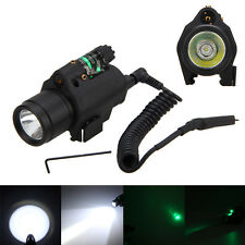 Tactical Powerful Green/Red Laser Sight CREE LED Flashlight Combo + Rail Mount