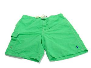 Polo Ralph Lauren Trunks Green Blue Nylon Polyester Lined Pockets Swim Mens M