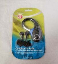Vintage Radio Shack Carabiner FM Radio w Compass, Built-in Light Ear Buds 12-231