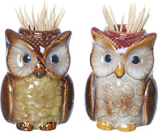 Ceramic Owl Toothpick Holders, set of 2 cute brown owls with wooden toothpicks